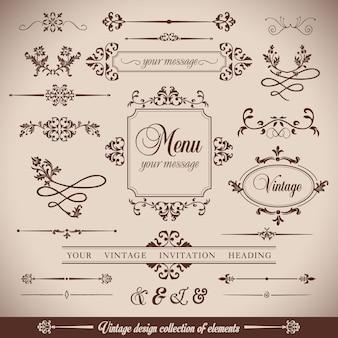 Fiori vintageretro telaio e calligrpaphic elementi