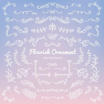 Fiorisca gli elementi di disegno calligrafico di ornamenti