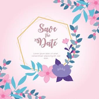 Fiorisce il matrimonio, salva la data, la cornice geometrica fiorisce il fondo rosa