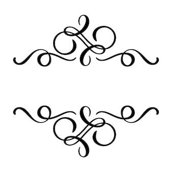 Fiorisce l'elemento calligrafia floreale, divisore disegnato a mano per la decorazione della pagina