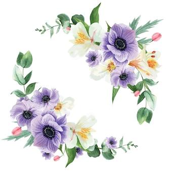 Fioritura botanica del mazzo dell'acquerello del fiore botanico