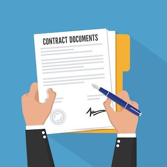 Firma del contratto. stile piatto.
