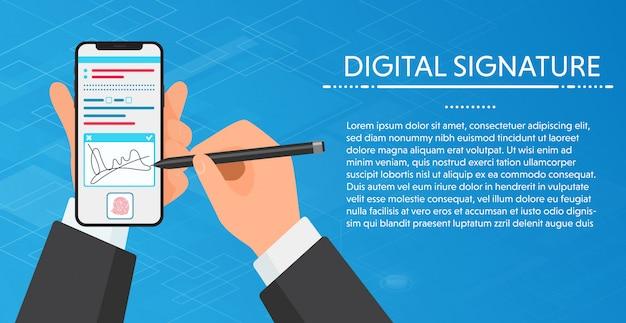 Firma di digital delle mani dell'uomo d'affari che firma sullo smartphone moderno. vending un telefono per la firma. concetto.