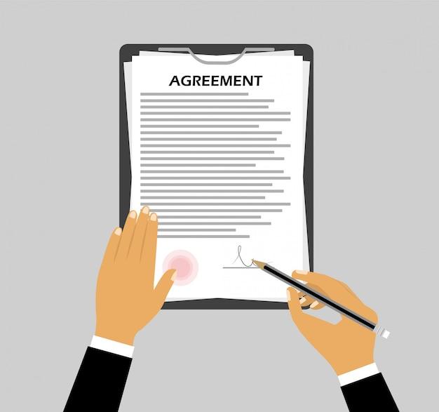 Firma di un accordo in uno stile piatto. il concetto della mano firma un documento.