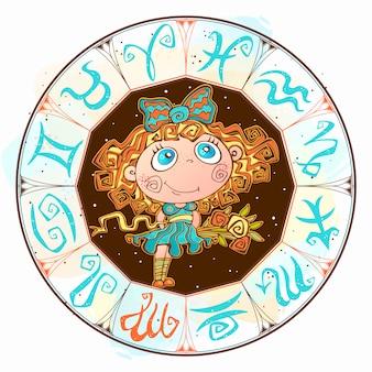Firma la vergine nel cerchio dello zodiaco
