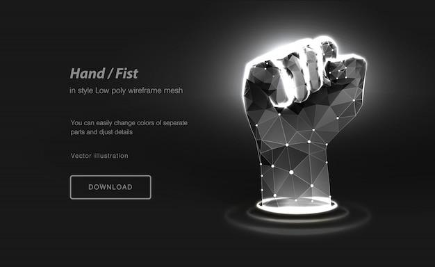 Fist low poly wireframe art. gesto della mano di potere illustrazione poligonale con punti collegati e linee poligonali.