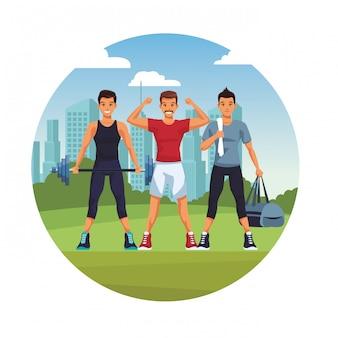 Fit uomini facendo esercizio