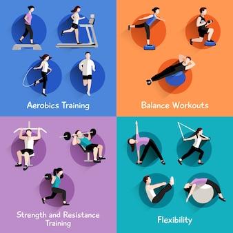 Fitness aerobica forza e corpo che modella esercizi 4 icone piane