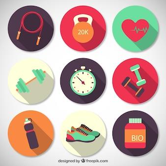 Fitness arrotondato collezione di icone