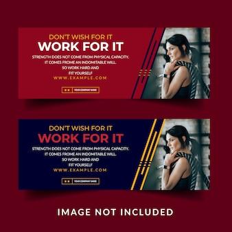 Fitness creativo copertina facebook banner social media post