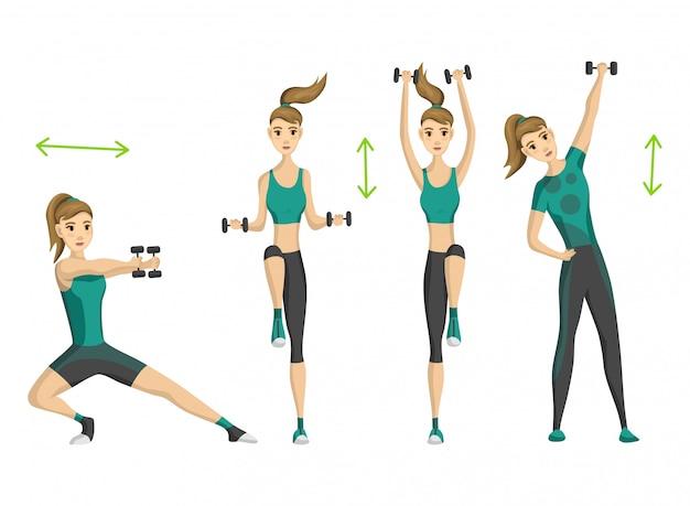 Fitness donna. allenamento fitness aerobico con manubri. concetto di vita attiva e sana