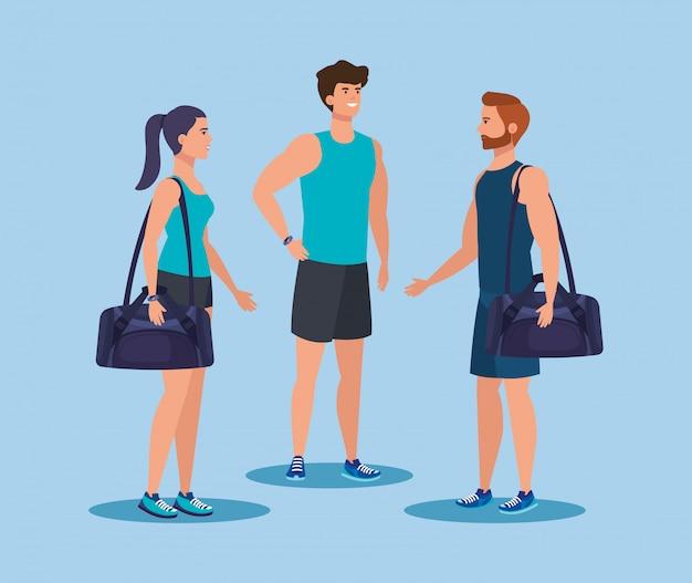 Fitness donna e uomini con borsa per praticare sport