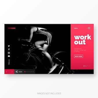Fitness e lavoro fuori modello di pagina di atterraggio