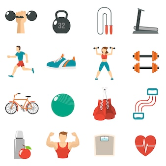 Fitness icon set piatto
