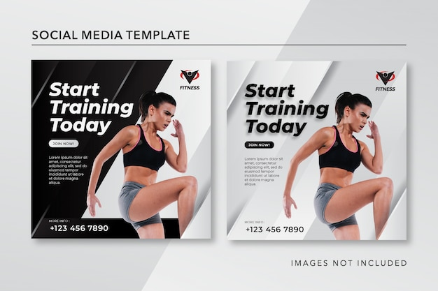 Fitness instagram post template in bianco e nero