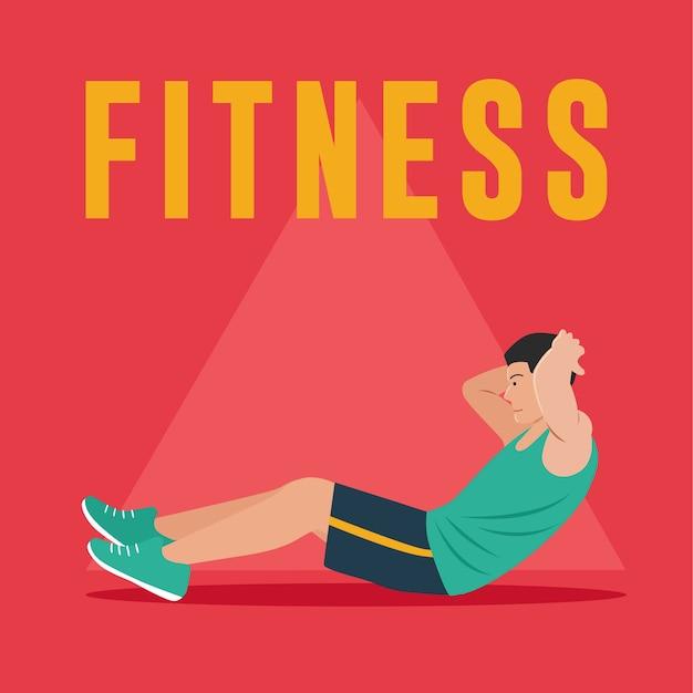 Fitness man facendo esercizi addominali