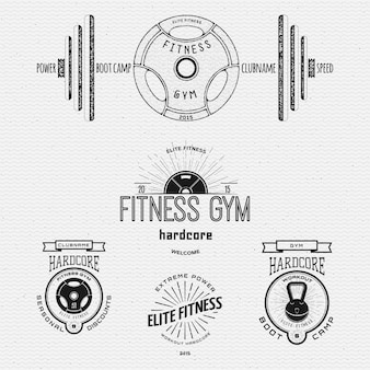 Fitness palestra distintivi loghi ed etichette per qualsiasi uso, su uno sfondo bianco