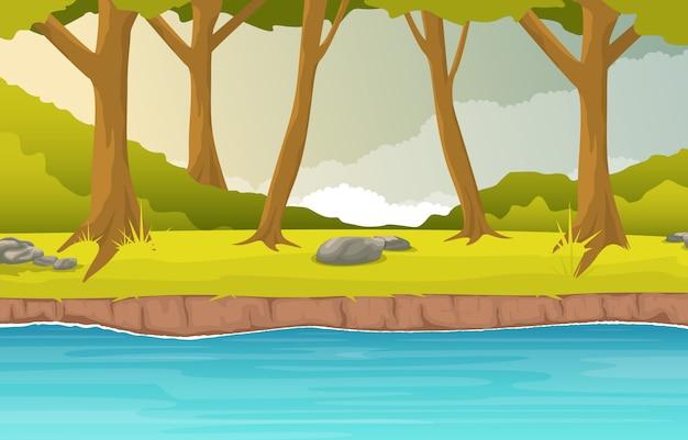 Fiume che scorre forest environment beautiful rural nature landscape illustration