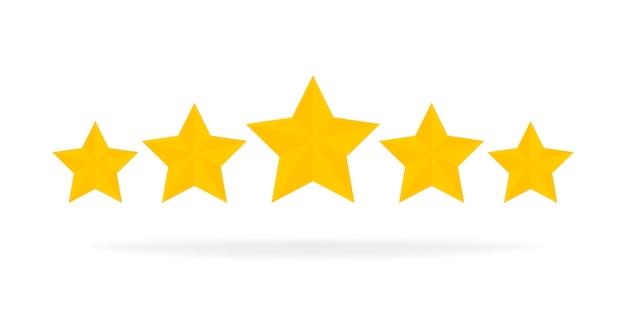 Five stars rating gold cartoon game design ui elementi. vinci premi, ratting, premio, concetto di successo. .