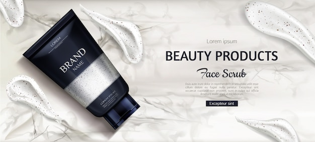 Flacone cosmetico, prodotto cosmetico di bellezza per la cura del viso su marmo