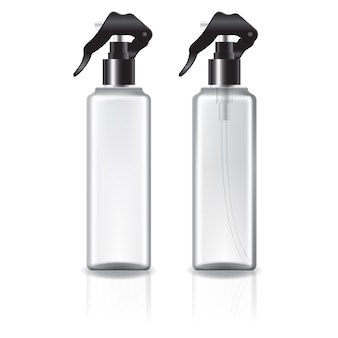 Flacone cosmetico quadrato bianco e trasparente con spruzzatore nero.