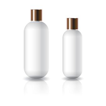 Flacone cosmetico rotondo ovale bianco di due misure con coperchio a vite in rame.