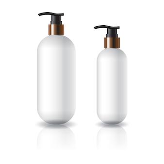 Flacone cosmetico rotondo ovale bianco di due misure con testa della pompa.
