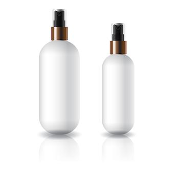 Flacone cosmetico rotondo ovale bianco di due misure con testina spray.