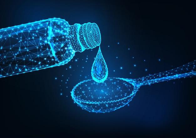 Flacone di medicina poli basso incandescente futuristico, goccia liquida e cucchiaio dosatore su blu scuro.