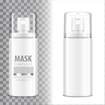 Flacone spray cosmetico. dispenser per crema, balsamo e altri cosmetici. con coperchio e senza. template your
