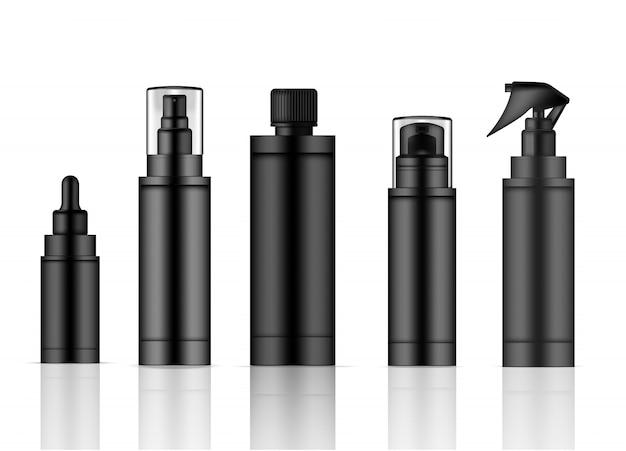 Flacone spray prodotto nero realistico per la pelle