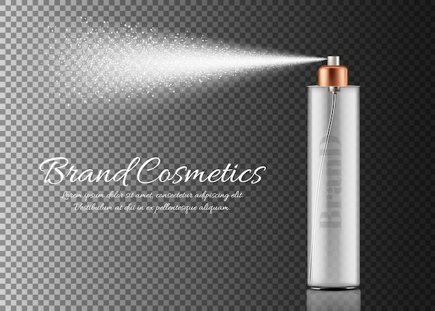 Flacone spray realistico isolato su sfondo trasparente. contenitore con spruzzatore per la bellezza