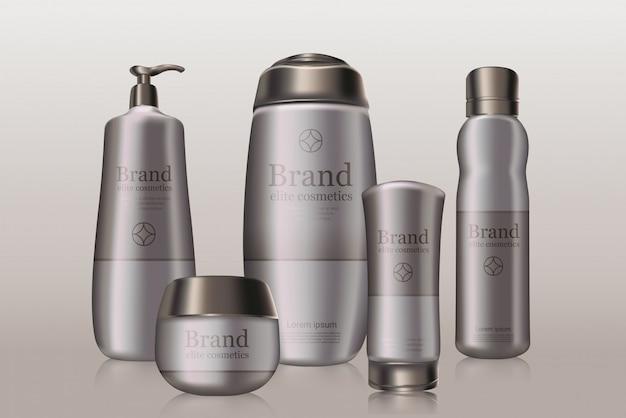 Flaconi con marchio di cosmetici grigio scuro con confezione logo del marchio