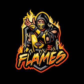 Flame man mascot logo esport gaming