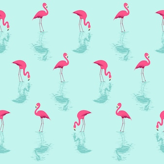 Flamingo and water summer pattern