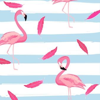 Flamingo e piume con strisce seamless pattern di sfondo