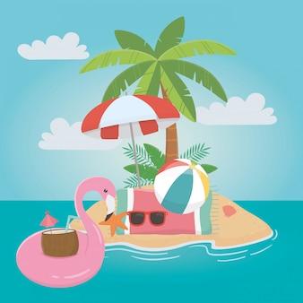 Flamingo galleggiante ed estate