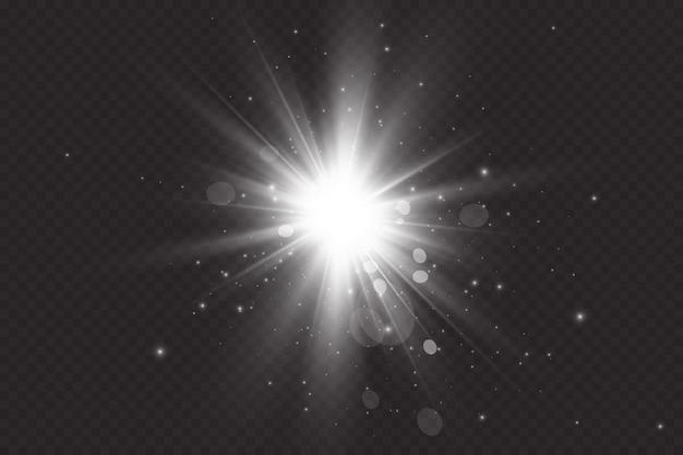 Flare solare con raggi e proiettore. effetto bagliore la stella balenò di scintillii.