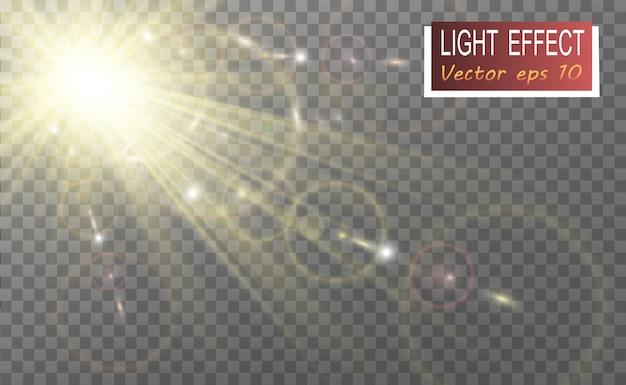 Flash lente speciale, effetto luce. flash lampeggia raggi e proiettore.