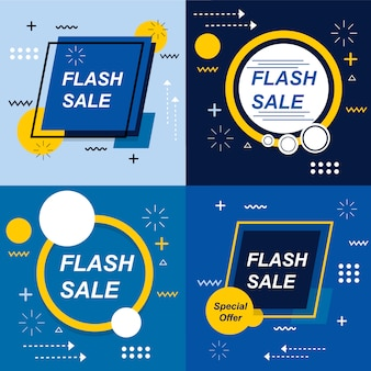 Flash sale banner set elements pacchetto vector premium