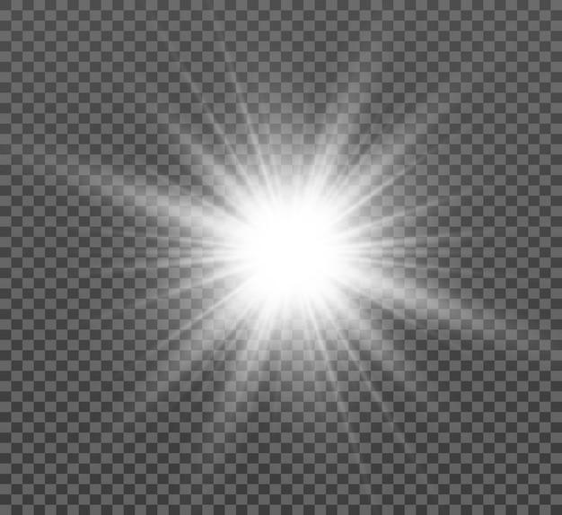 Flash speciale dell'obiettivo, effetto della luce. il flash lampeggia raggi e proiettore. illust.white luce incandescente.