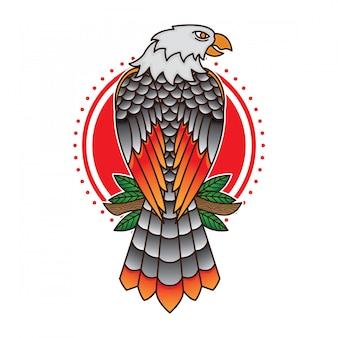 Flash tradizionale con tatuaggio aquila