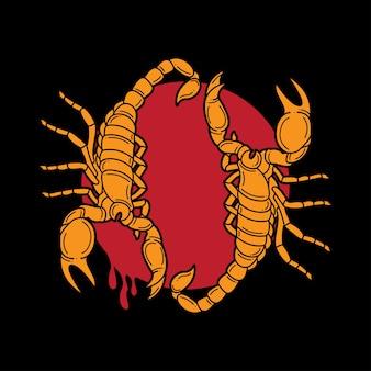 Flash tradizionale per tatuaggio con scorpioni