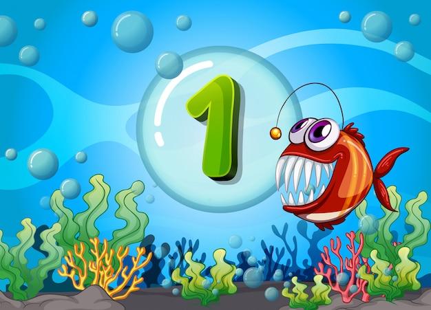 Flashcard numero uno con 1 pesce sott'acqua