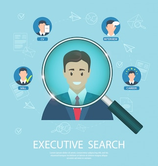 Flat banner executive search success closing job.