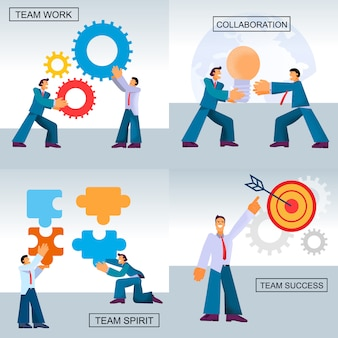 Flat banner set team work success collaboration.