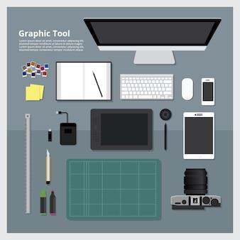 Flat design graphic designer concetto di luogo di lavoro