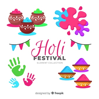 Flat holi festival element pack