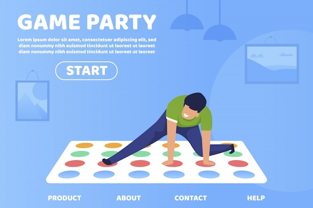 Flat is written game party banner pubblicitario.