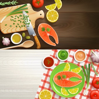 Flat lay cooking 2 set di banner